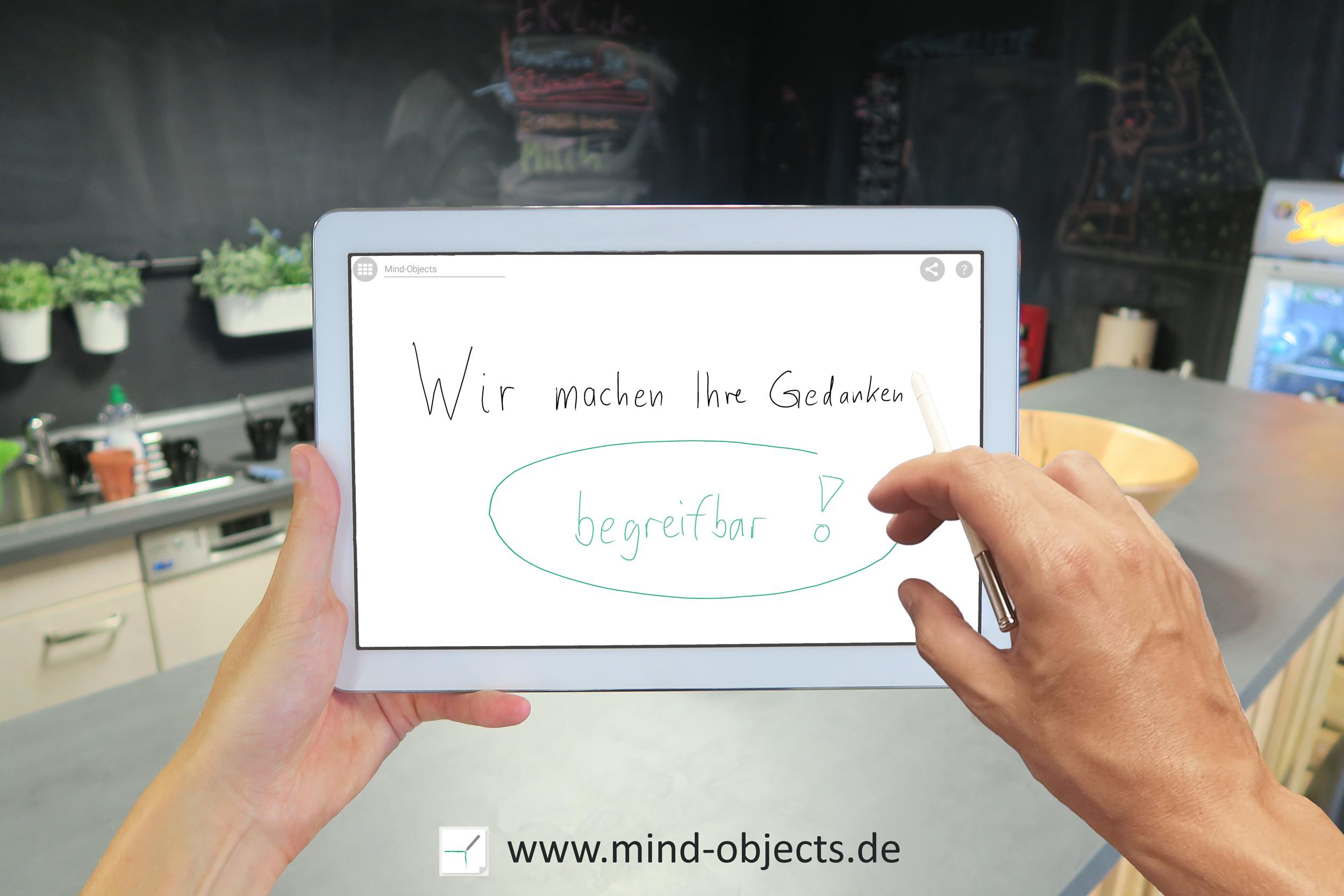 wir machen ihre Gedanken begreifbar - Tablet mit mind objects