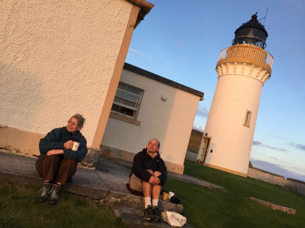 Margaret Worthington and Tom Oberbichler at Bressay Lighthouse Shetland