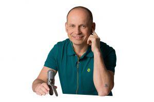 Tom Oberbichler beim Podcasten