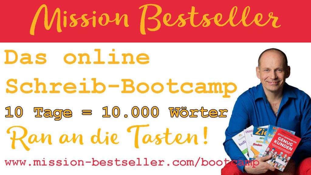 Einladung zum online Schreibcamp Mission Bestseller