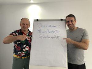 Thomas Mangold und Tom Oberbichler beim Schreibcamp Mallorca