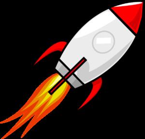 Eine Rakete, die abhebt