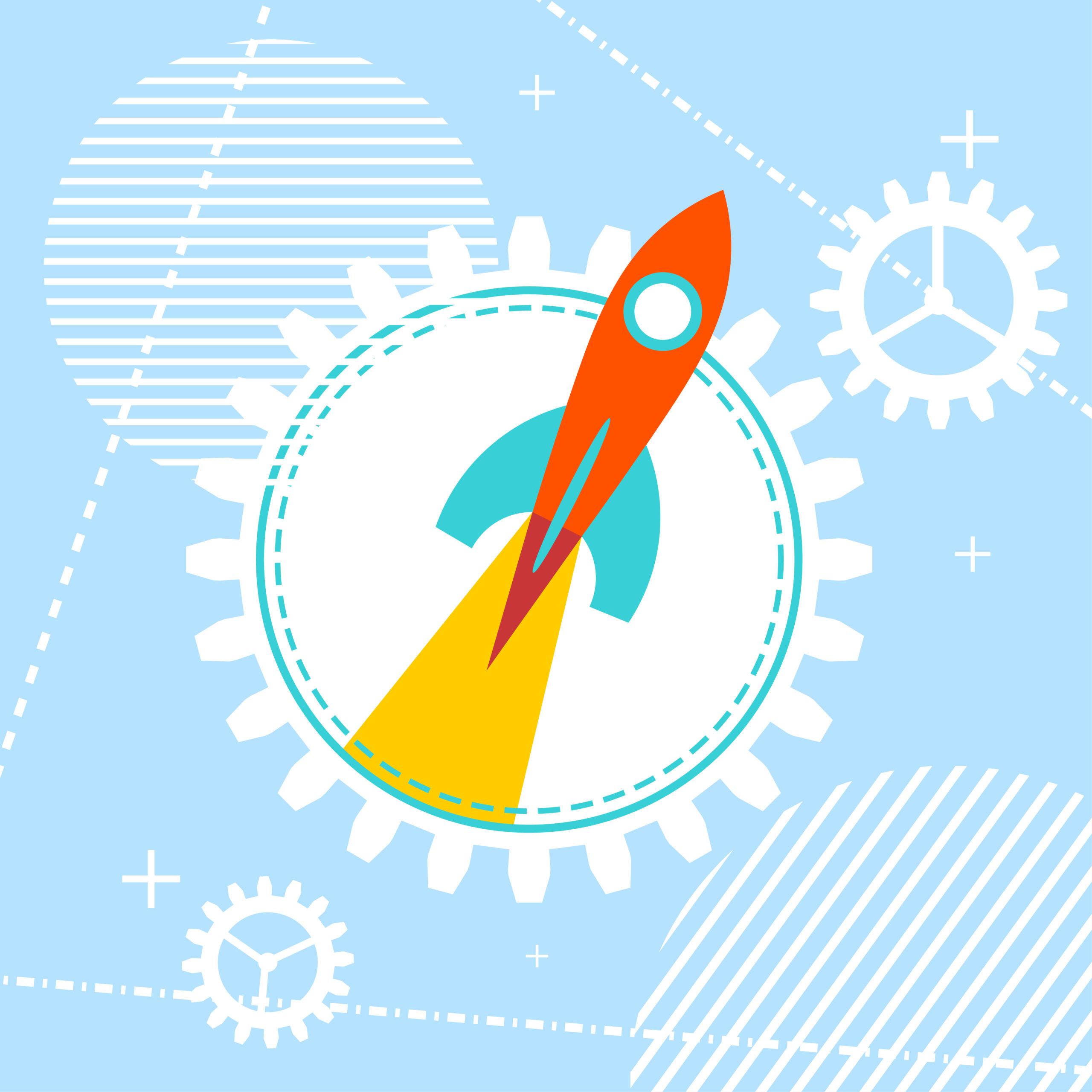 Zeichnung einer Rakete, die abhebt